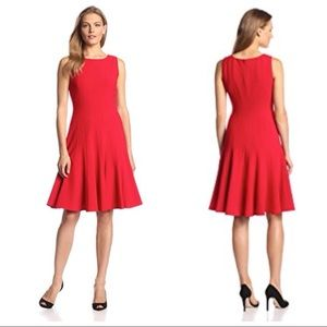 Calvin Klein Dress Red Fit and Flare Ribbed Swing